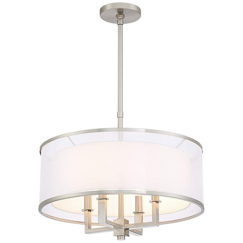 "Possini Euro Glover 21"" Wide Brushed Nickel 4-Light Pendant more views"