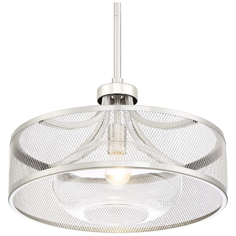 "Luis 18"" Wide Brushed and Polished Nickel LED Pendant Light more views"