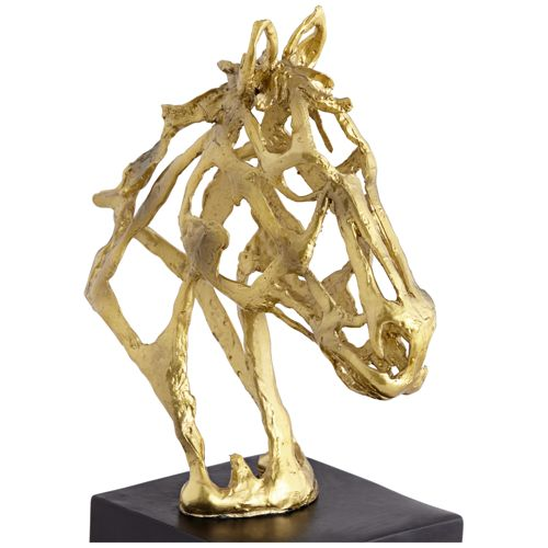 "Stallion Gold 10 1/2"" High Horse Head Figurine"