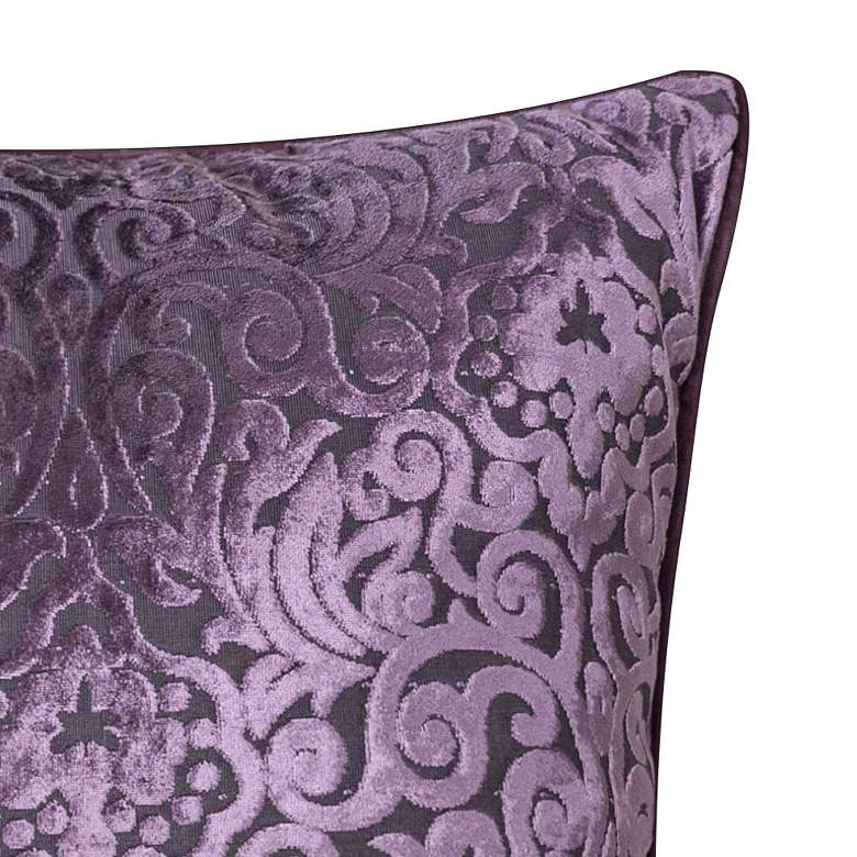 "Plum Purple Cut Velvet 20"" Square Throw Pillow more views"