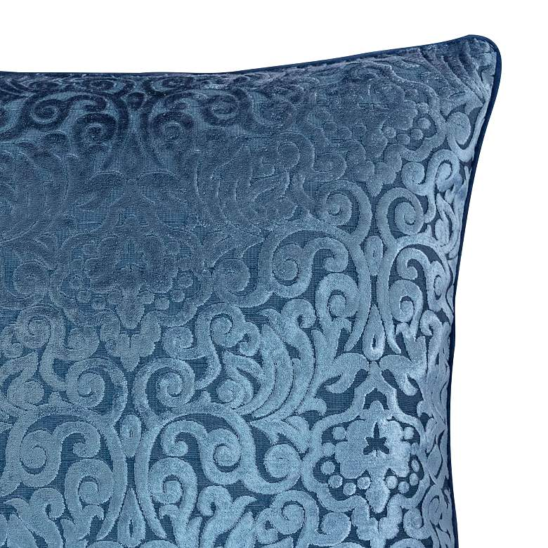 "Blue Cut Velvet 20"" Square Throw Pillow more views"