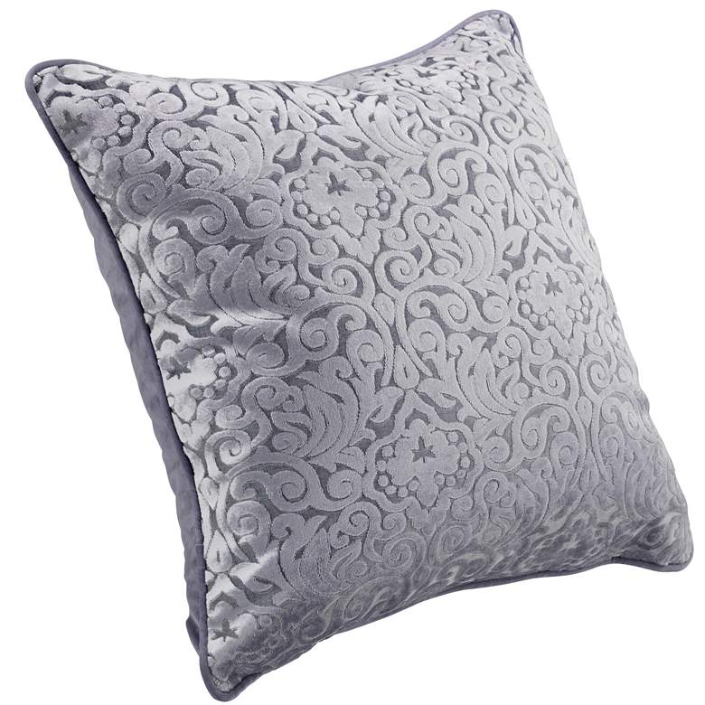 "Pewter Gray Cut Velvet 20"" Square Throw Pillow more views"