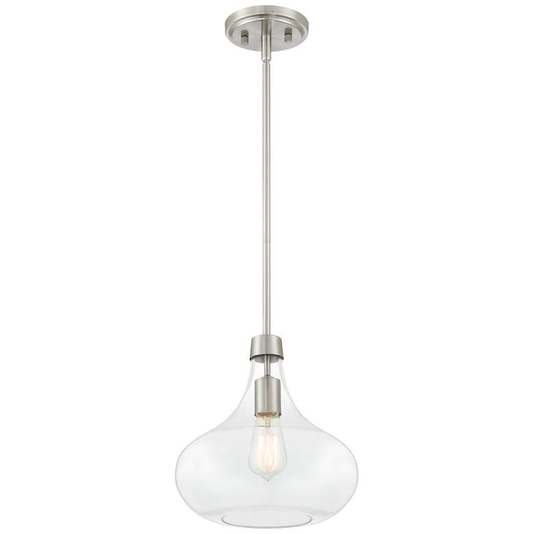 "Possini Euro Cecil 11"" Wide Brushed Nickel Mini Pendant more views"