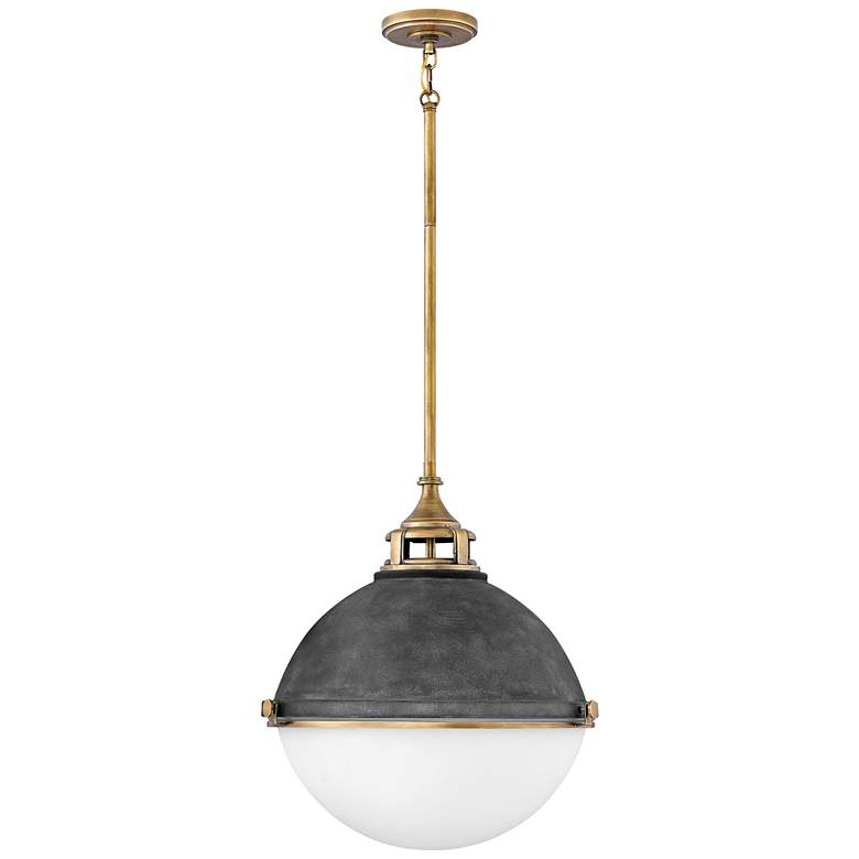 "Hinkley Fletcher 18"" Wide Aged Zinc and Gold Pendant Light more views"