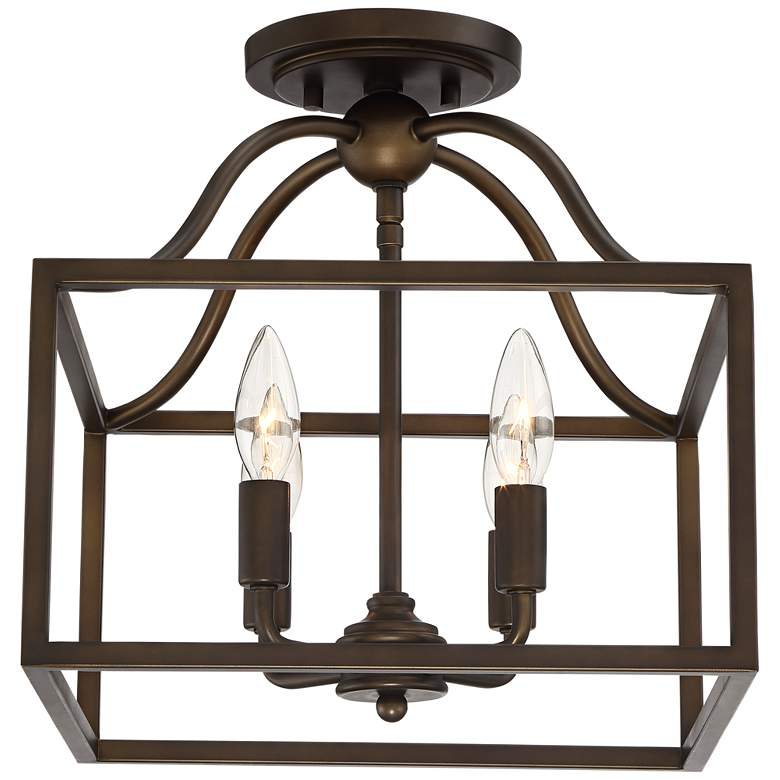 "Elle 13"" Wide Bronze Open Cage 4-Light Ceiling Light more views"