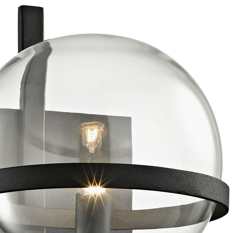 "Elliot 11 1/2"" High Textured Black Glass Orb Wall Sconce more views"