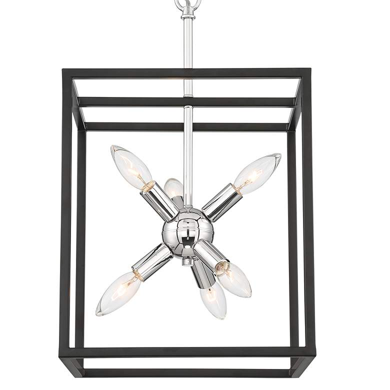"Rockford 12"" Wide Black and Polished Nickel 6-Light Pendant more views"
