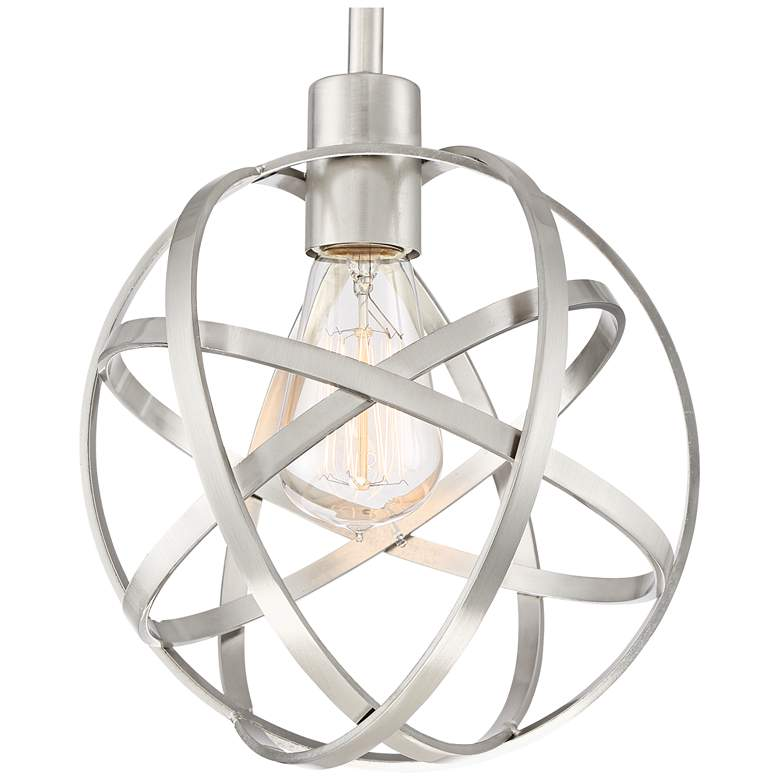 "Industrial Atom 8"" Wide Brushed Nickel Orb Mini Pendant more views"