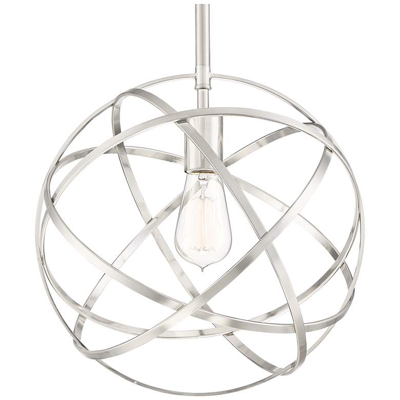 "Industrial Atom 13"" Wide Brushed Nickel Orb Pendant Light more views"