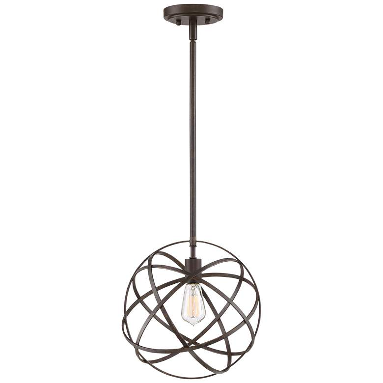 "Industrial Atom 12 3/4"" Wide Bronze Orb Pendant Light more views"