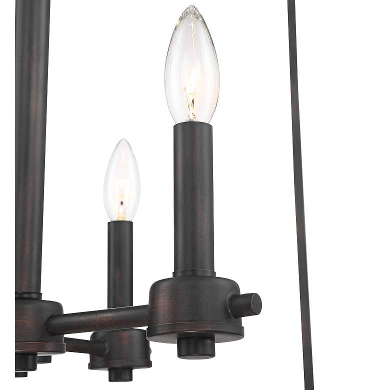 "Baxter 24""W Oiled-Rubbed Bronze Cage 8-Light Entry Pendant more views"
