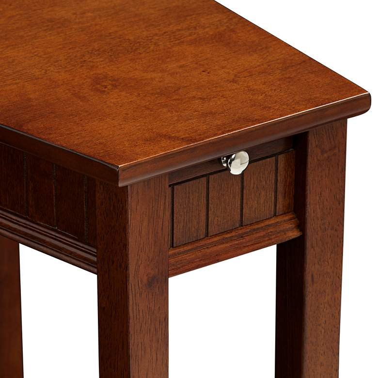 "Bentley-II 16"" Wide Cherry Wood Wedge Accent Table more views"