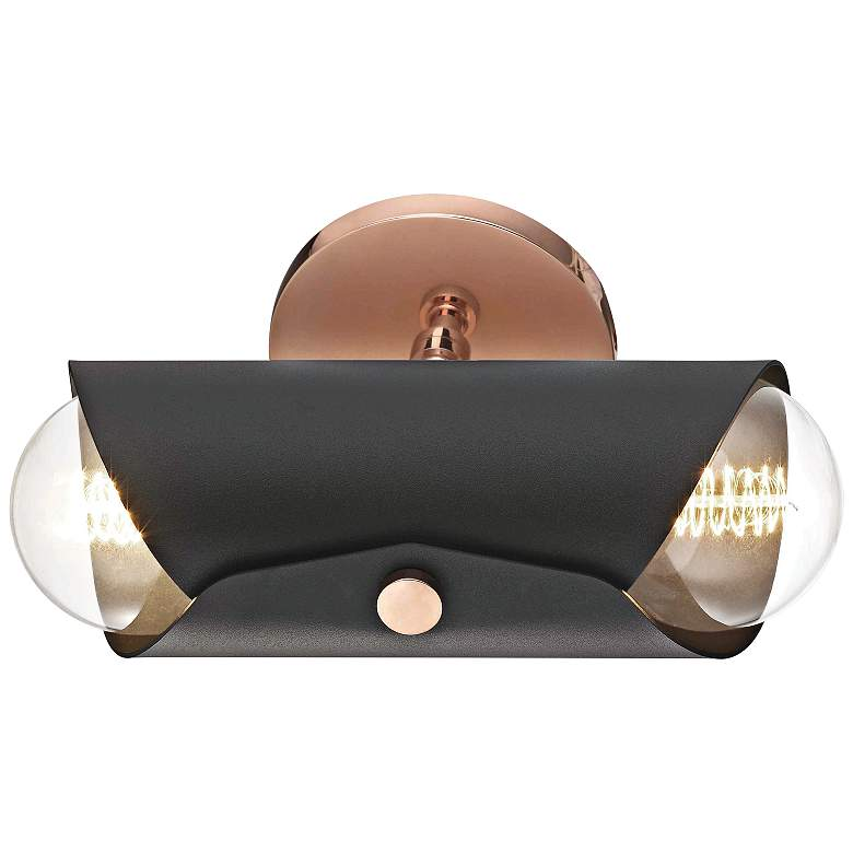 "Mitzi Immo 11"" High Copper and Black 2-Light Wall Sconce more views"