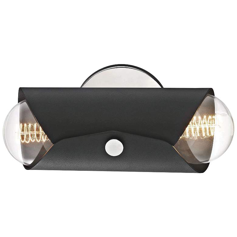 "Mitzi Immo 11"" High Nickel and Black 2-Light Wall Sconce more views"