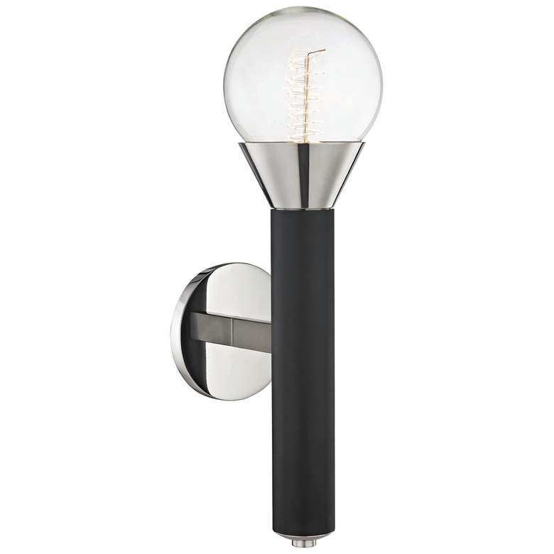 "Mitzi Via 17 1/2""H Polished Nickel and Black Wall Sconce more views"
