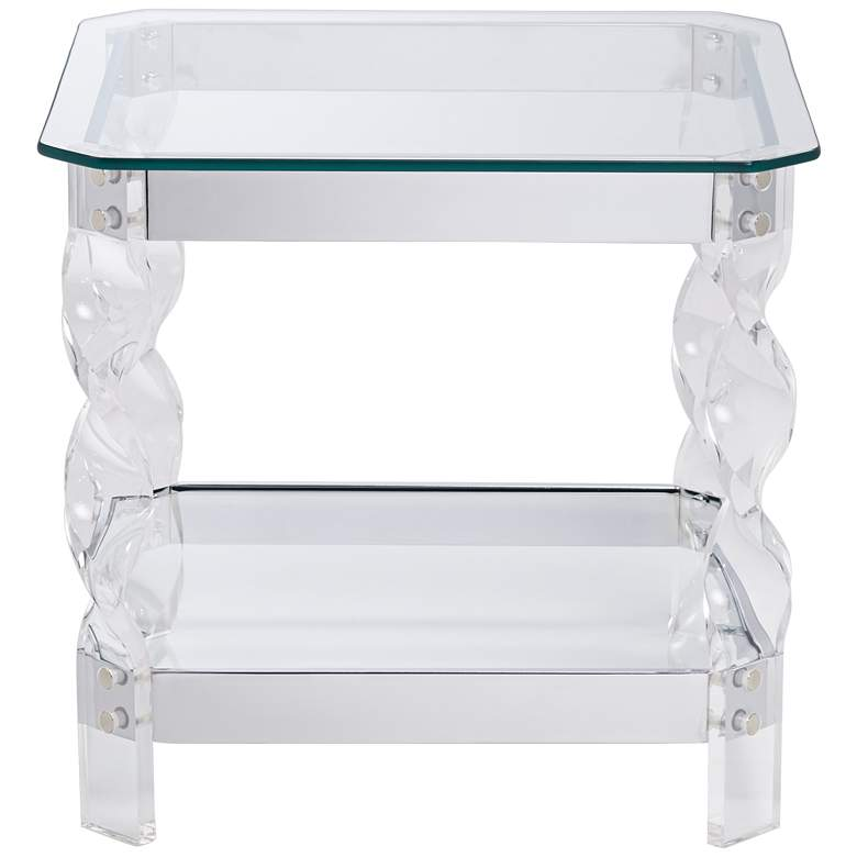 "Amanda 19 3/4"" Wide Chrome and Acrylic Twist Leg End Table more views"