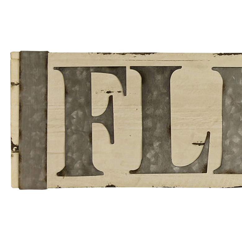 "Flea Market 58"" Wide Metal and Wooden Wall Signage more views"