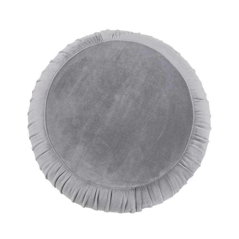 Tulip Gray Velvet Round Ottoman more views