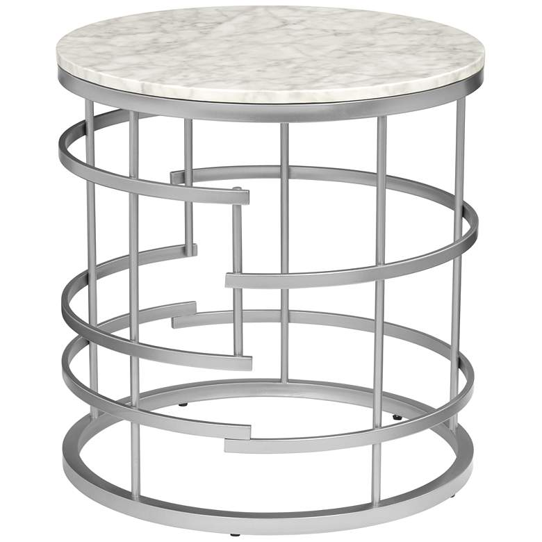 "Brassica 24"" Wide Faux Marble and Silver Modern End Table more views"