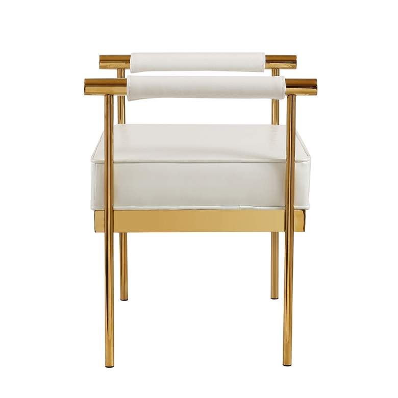 Diva White Faux Leather Bench more views