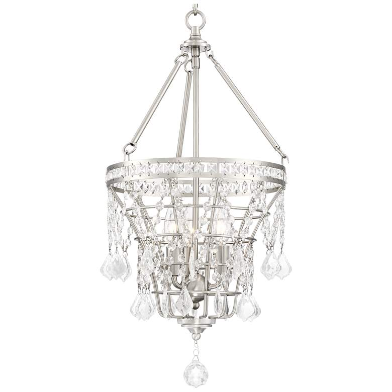 "Kemper 12 1/4"" Wide Satin Nickel 3-Light Chandelier more views"