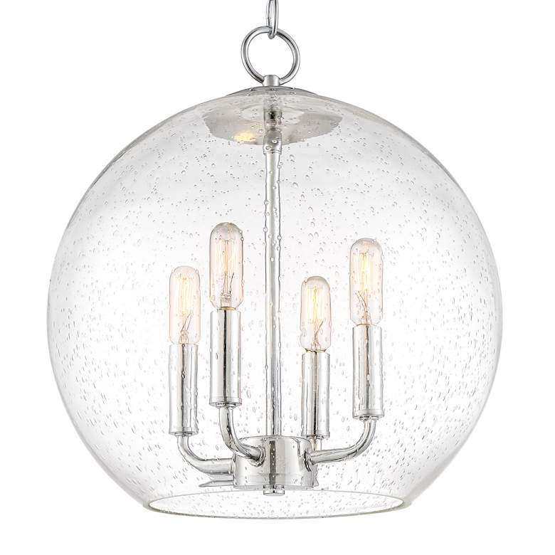 "Lovell 14"" Wide Chrome and Clear Glass 4-Light Orb Pendant more views"