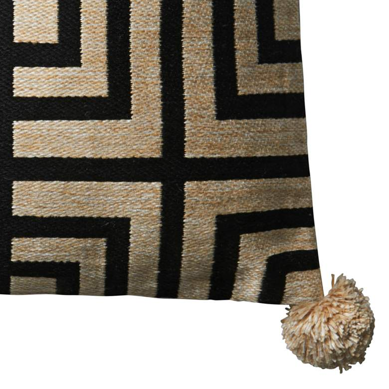 "Loloi Beige and Black 18"" Square Throw Pillow more views"