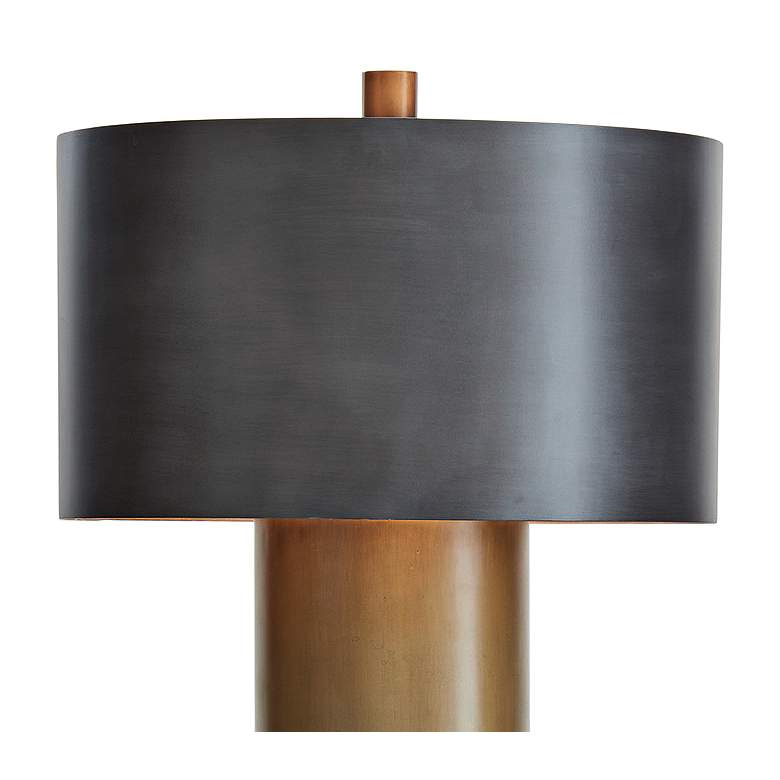 Tortoise Ombre Brass and Bronze Drum Floor Lamp more views