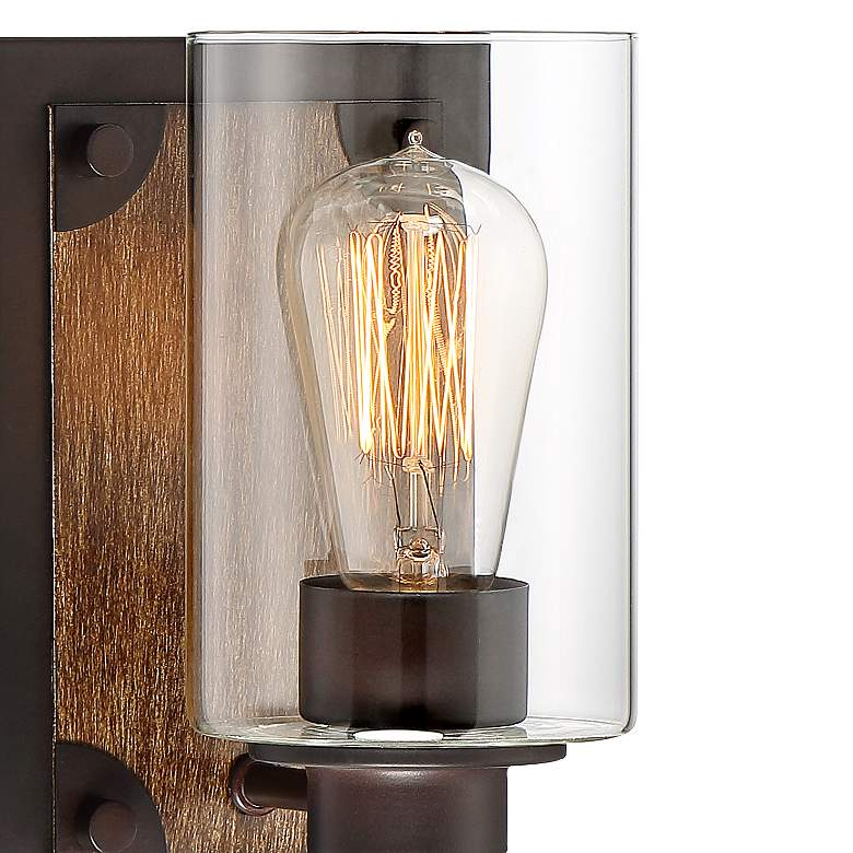 "Buford 8"" High Wood-Accented Bronze Rustic Wall Sconce more views"