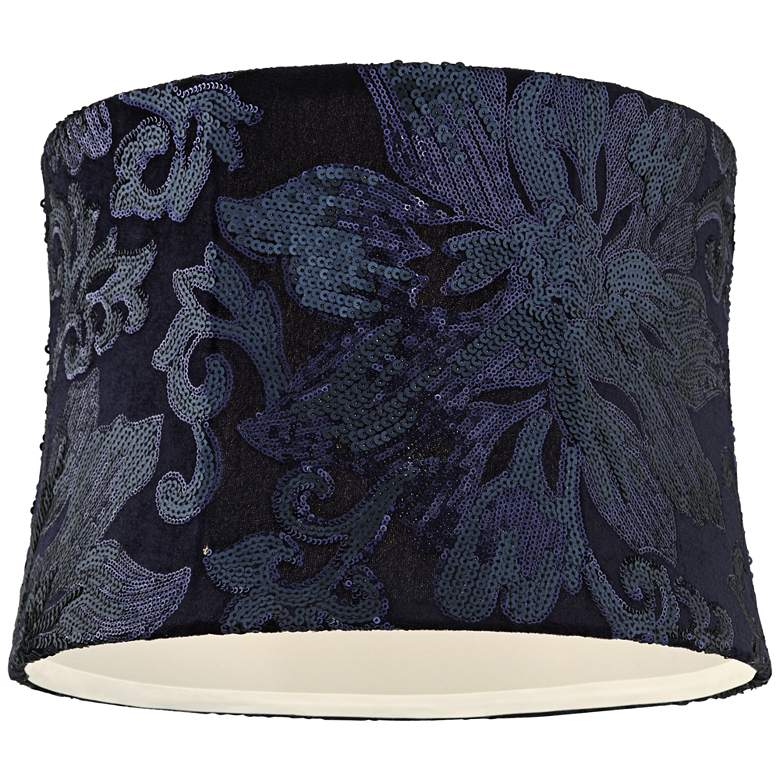 Nashua Blue Sequin Flower Drum Lamp Shade 13x14x10 (Spider) more views