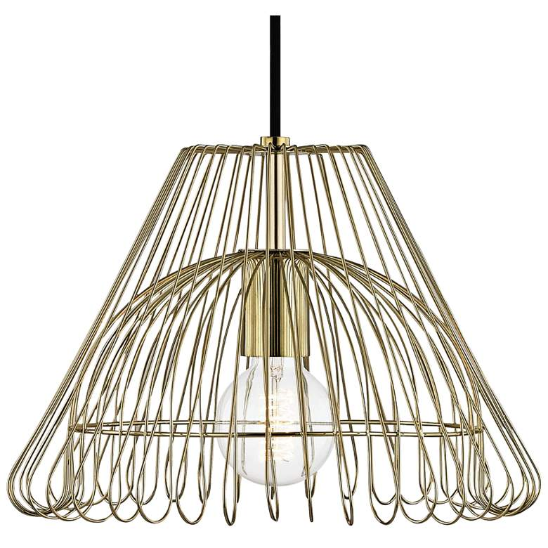 "Mitzi Katie 13"" Wide Polished Brass Pendant Light more views"