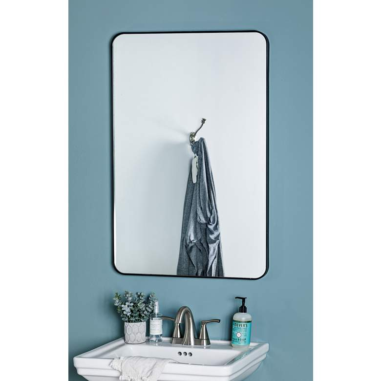 "Cooper Classics Sierra Matte Black 24"" x 36"" Wall Mirror more views"