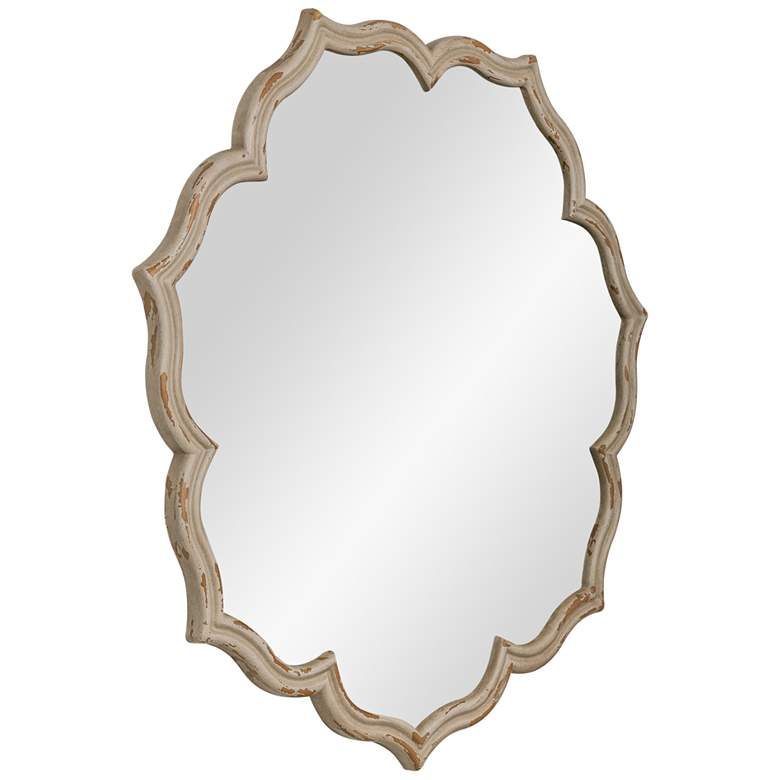 "Blevin Distressed Beige 35"" Round Wall Mirror more views"