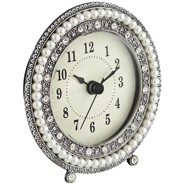 "Freya 4 1/2"" Round Silver Table Clock more views"