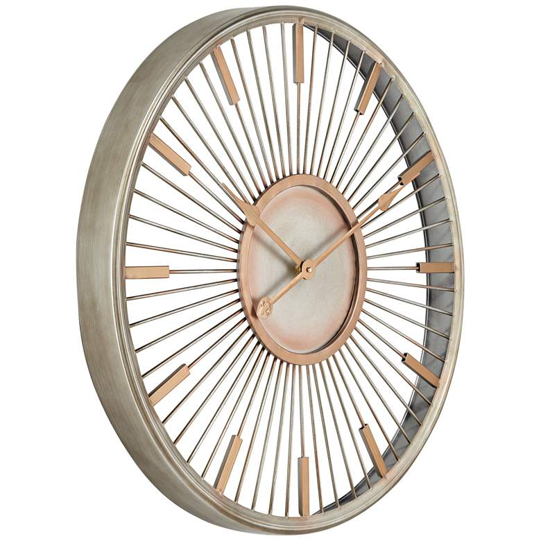 "Collins Glossy Silver 23 3/4"" High Round Wall Clock more views"