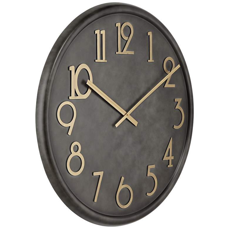 Parker Black Metal Wall Clock with Gold Numbers more views