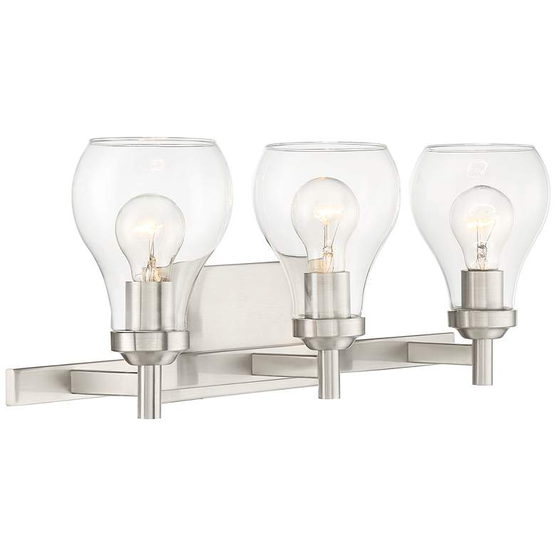 "Possini Euro Danvers 21""W Brushed Nickel 3-Light Bath Light more views"