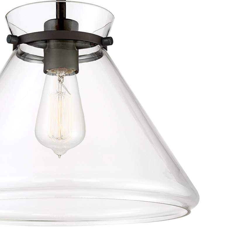 "Possini Euro Jensen 12 1/4""W Bronze and Glass Ceiling Light more views"