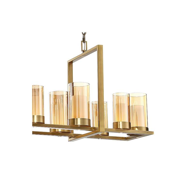 "Eurofase Londra 49 1/2""W Brass LED Rectangular Chandelier more views"