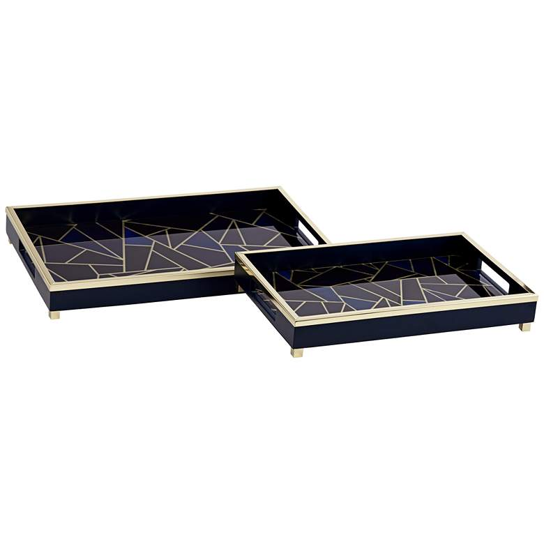 Weston Black and Blue Geometric Tray Set of 2 more views