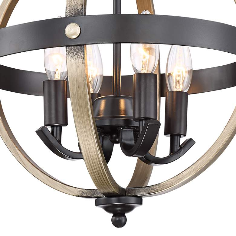Kimpton Wood Grain and Bronze 4-Light Ceiling Light more views
