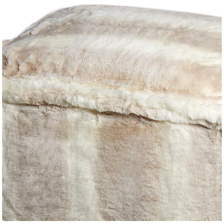 Zuni White Faux Fur Ottoman more views