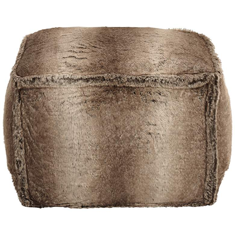 Zuni Brown Faux Fur Ottoman more views