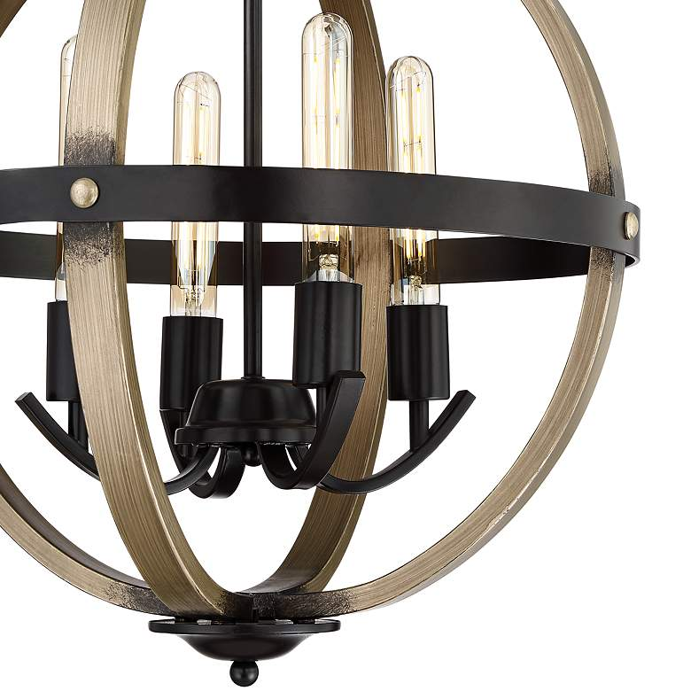 "Kimpton 18""W Dark Bronze and Wood 4-Light LED Orb Chandelier more views"