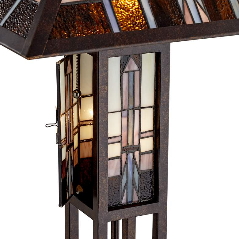 Geometric Art Glass Mission Floor Lamp with Night Light more views