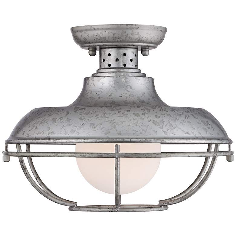 "Franklin Park 13""W Galvanized Steel Outdoor Ceiling Light more views"