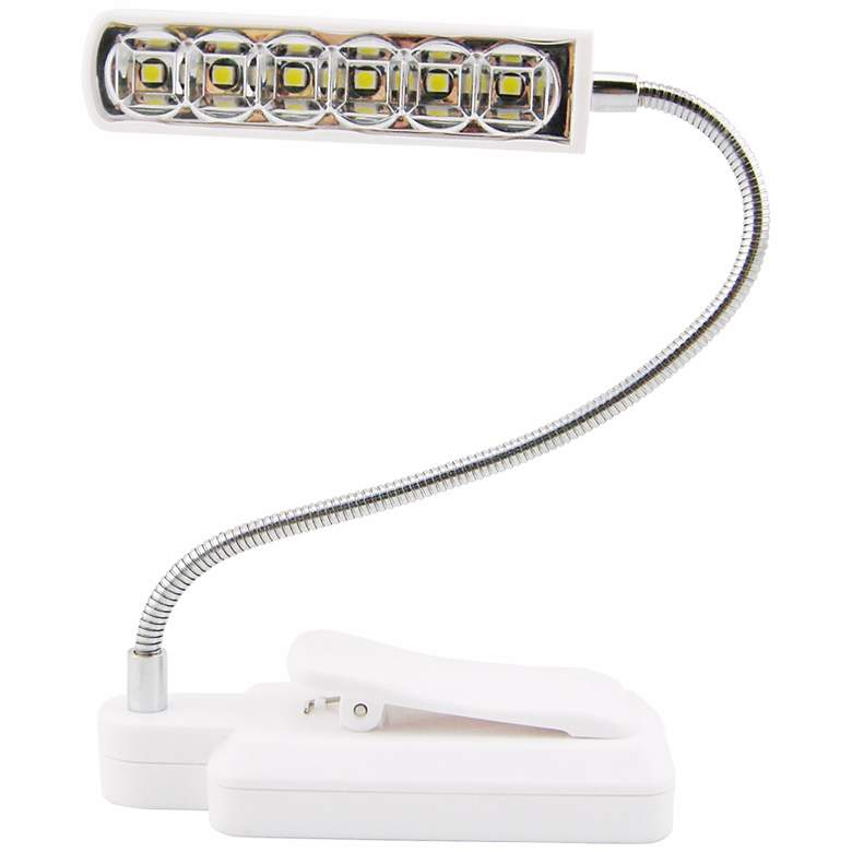 White LED Battery Powered Clip-On Gooseneck Book Light more views