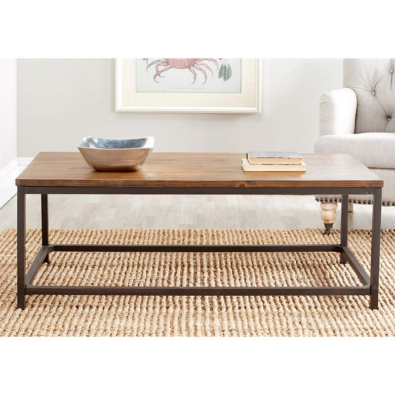 "Capper 48"" Wide Oak Wood and Metal Legs Coffee Table more views"