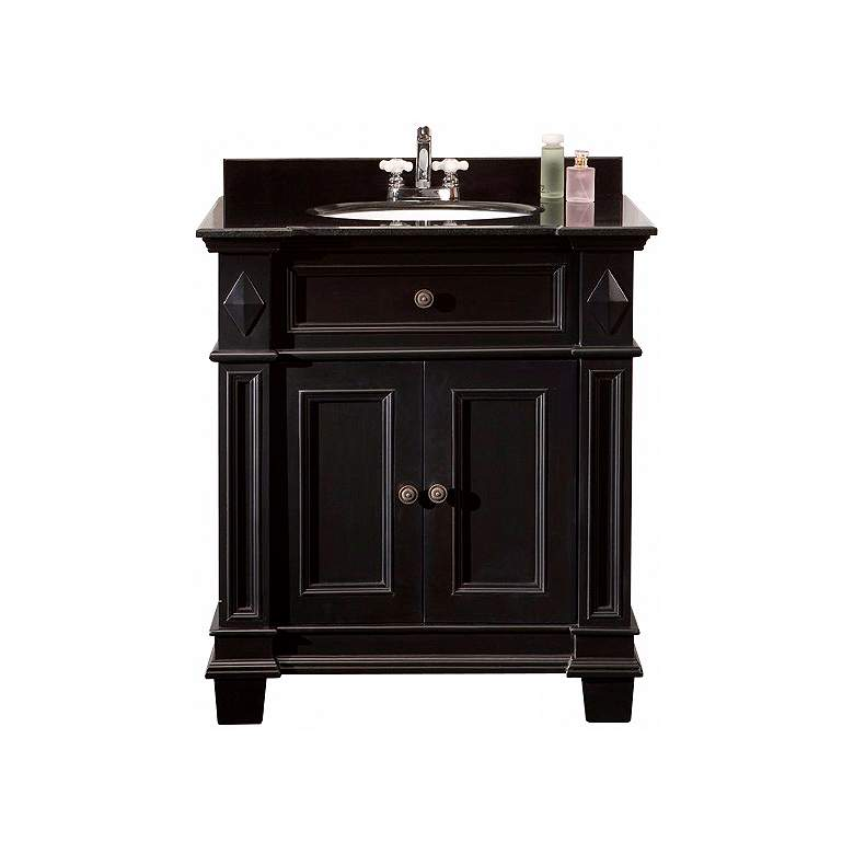"Essex 31"" Wide Black Antique Single Sink Bathroom Vanity more views"