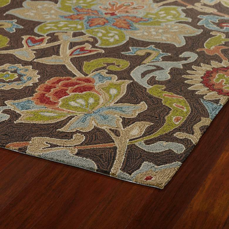 "Kaleen Home & Porch 2042-40 Chocolate Floral 5'x7'6"" Rug more views"